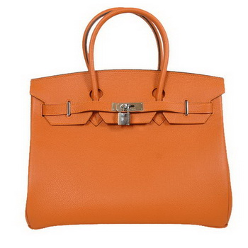 Hermes Birkin 35CM Tote Bags Smooth Togo Leather Orange Silver