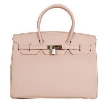 Hermes Birkin 35CM Tote Bags Smooth Togo Leather Pink Silver