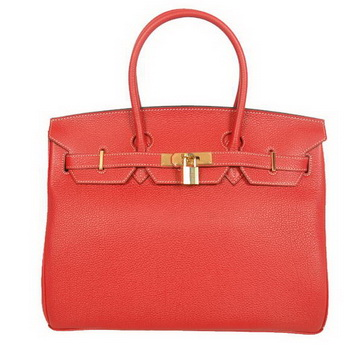 Hermes Birkin 35CM Tote Bags Smooth Togo Leather Red Golden