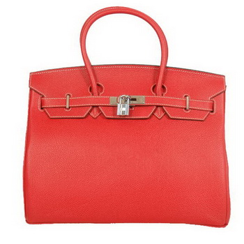 Hermes Birkin 35CM Tote Bags Smooth Togo Leather Red Silver