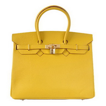 Hermes Birkin 35CM Tote Bags Smooth Togo Leather Yellow Golden
