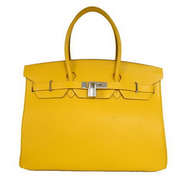 Hermes Birkin 35CM Tote Bags Smooth Togo Leather Yellow Silver