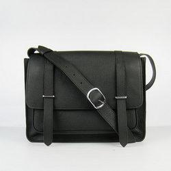 Hermes Jypsiere Togo Leather Messenger Bag H2810 Black