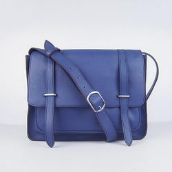 Hermes Jypsiere Togo Leather Messenger Bag Dark Blue