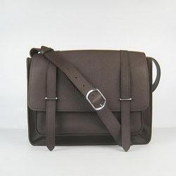 Hermes Jypsiere Togo Leather Messenger Bag Dark Coffee