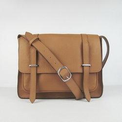 Hermes Jypsiere Togo Leather Messenger Bag H2810 Light Coffee