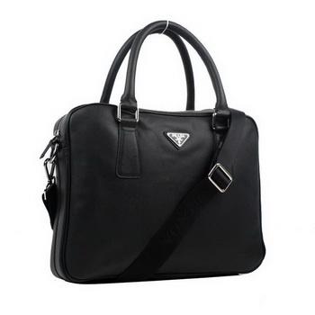 Prada BL0791 Saffiano Calf Leather Top Handle Bag Black