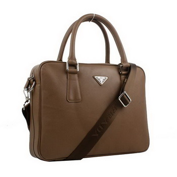 Prada BL0791 Saffiano Calf Leather Top Handle Bag Brown