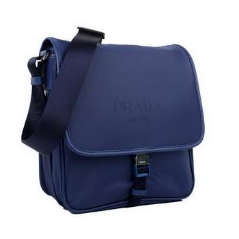 Prada Fabric Messenger Bag V166 Blue