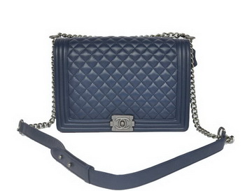Chanel A67087 Royalblue Sheepskin Leather Le Boy Flap Shoulder Bag