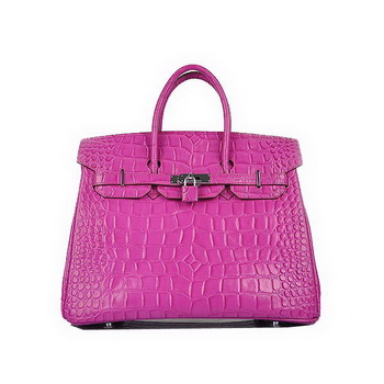Top Quality Hermes Birkin 35CM Purple Croco Leather Tote Bag Silver