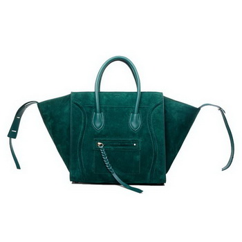 Celine Luggage Phantom Original Suede Leather Bags Green