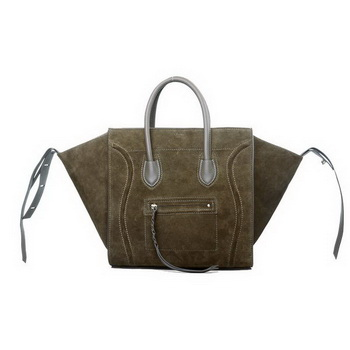 Celine Luggage Phantom Original Suede Leather Bags Khaki
