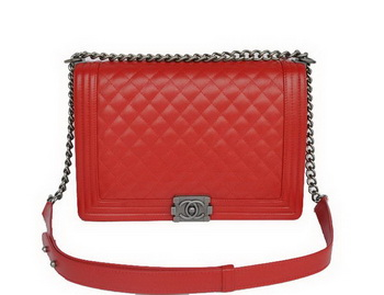 Hot Style Chanel A67086 Red Le Boy Flap Shoulder Bag Silver