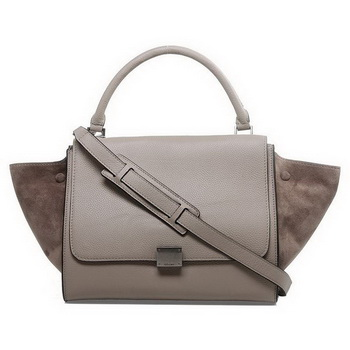 Celine Trapeze Bags Clemence Calf Suede Leather Light Khaki