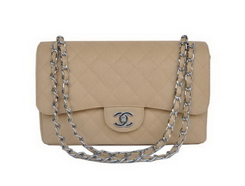 Chanel Jumbo Quilted Classic Cannage Patterns Flap Bag A58600 Apricot Silver