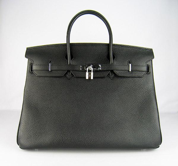 Hermes Birkin 40CM Togo Bag Black 6099 Silver