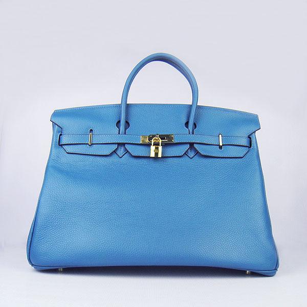 Hermes Birkin 6099 40CM Togo Bag Blue Gold padlock