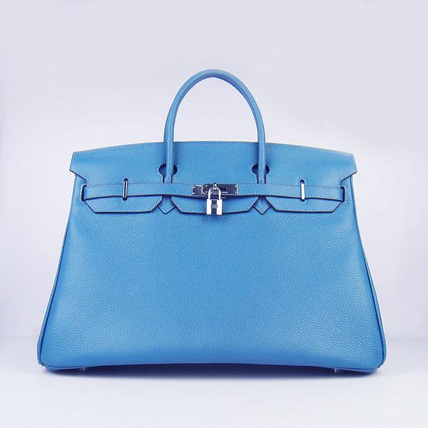 Hermes Birkin 6099 40CM Togo Bag Blue Silver padlock