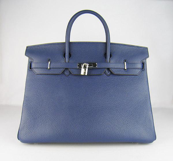 Hermes Birkin 40CM Togo Bag Dark Blue 6099 Silver