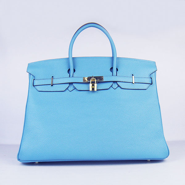 Hermes Birkin 40CM Togo Bag Light Blue 6099 Gold