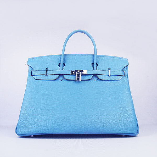 Hermes Birkin 40CM Togo Bag Light Blue 6099 Silver