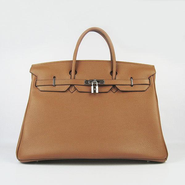Hermes Birkin 40CM Togo Handbag Light Coffee 6099 Silver