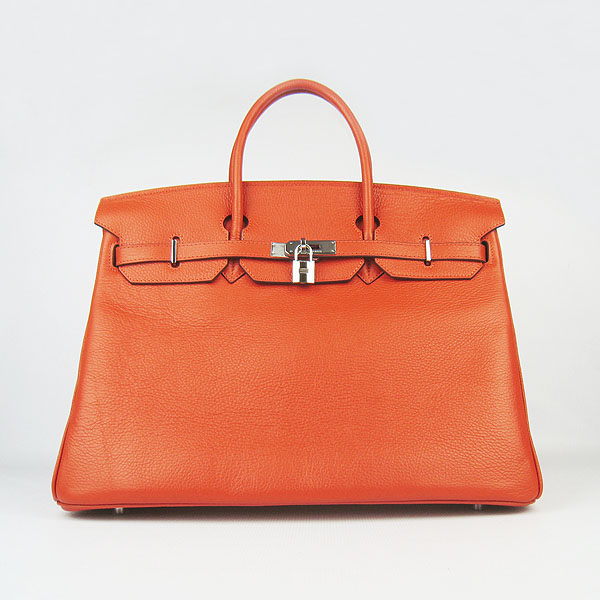 Hermes Birkin 40CM Togo Bag Orange 6099 Silver