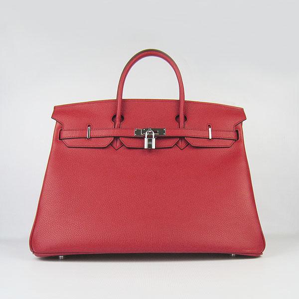 Hermes Birkin 40CM Togo Bag Red 6099 Silver