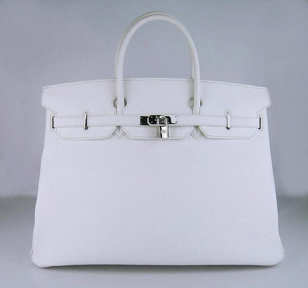 Hermes Birkin 40CM Togo Bag  White 6099 Silver