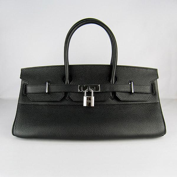 Hermes Birkin 6109 Togo Leather Bag Black 42cm Silver