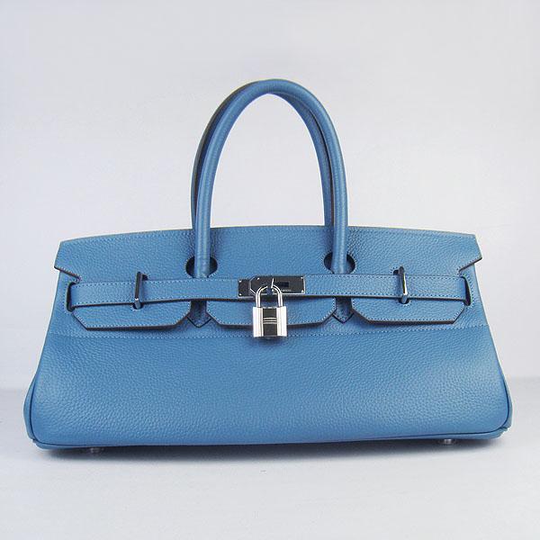 Hermes Birkin 6109 Togo Leather Bag Blue 42cm Silver