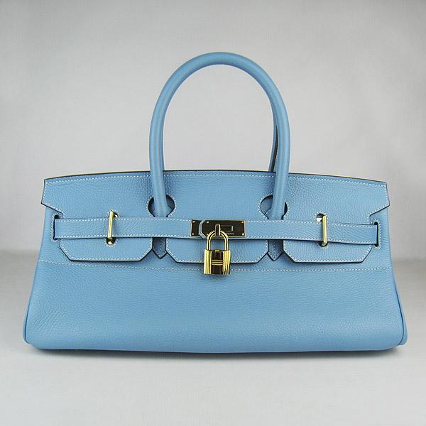 Hermes Birkin 6109 Togo Leather Bag Light Blue 42cm Gold