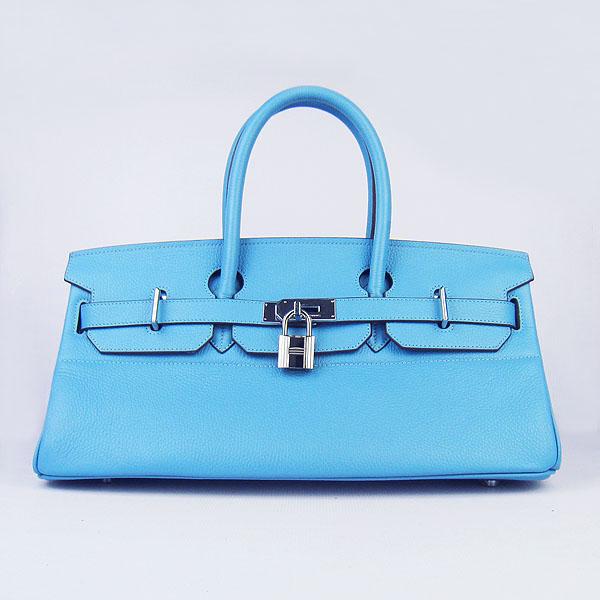 Hermes Birkin 6109 Togo Leather Bag light Blue 42cm Silver