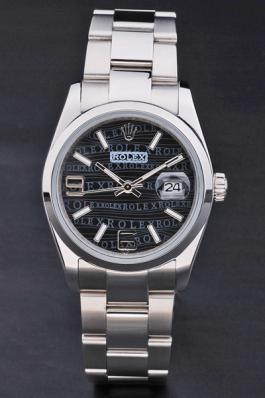 Rolex Perpetual Black Stainless Steel 33mm Men Watch-RP3826