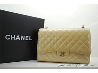 Chanel Import Paint Maxi Silver Chain Flap Bag 36070 Cream