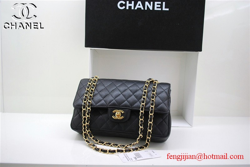 Chanel 2.55 Double Flap Gold Hardware A1112 Black