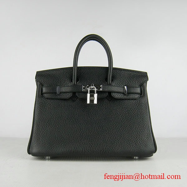 Hermes Birkin 25cm Togo Leather Handbag 6068 Black Silver Palladium hardware