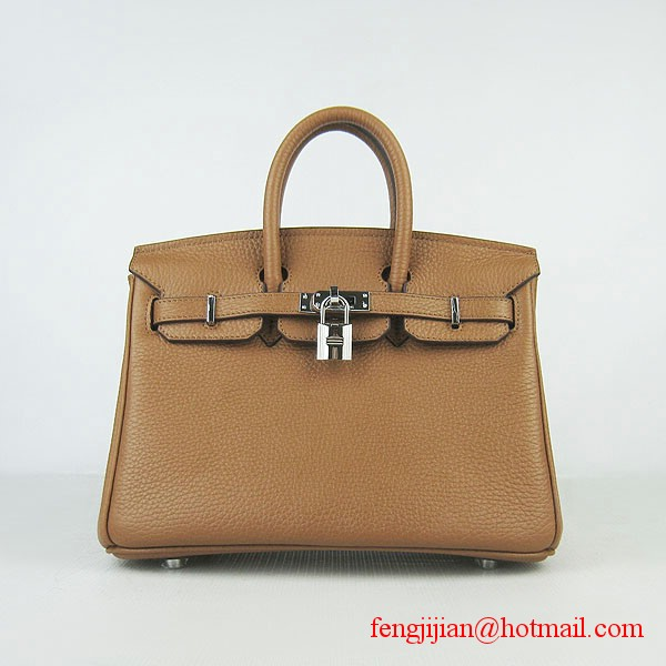 Hermes Birkin 25cm Embossed Leather Handbag 6068 Light Coffee Silver Palladium hardware