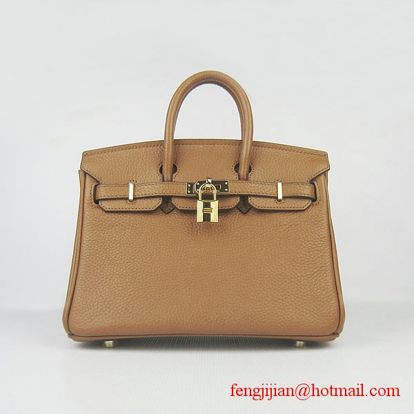 Hermes Birkin 25cm Embossed Leather Handbag 6068 Light Coffee Gold Palladium hardware