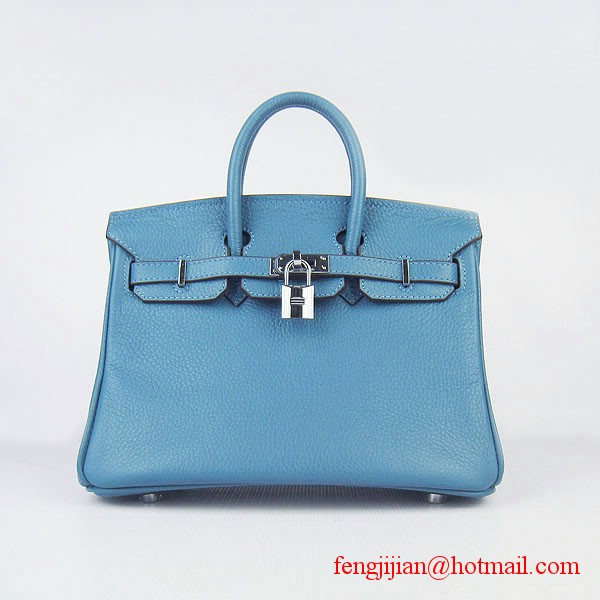 Hermes Birkin 25cm Togo Leather Bag 6068 Blue Silver Palladium hardware