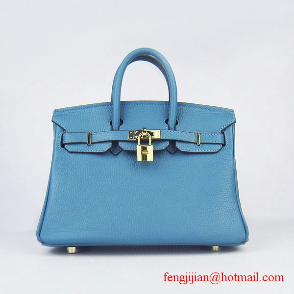 Hermes Birkin 25cm Togo Leather Bag 6068 Blue Gold Palladium hardware