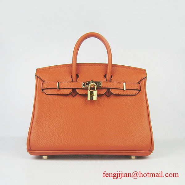 Hermes Birkin 25cm Embossed Leather Handbag 6068 Orange Gold Palladium Hardware