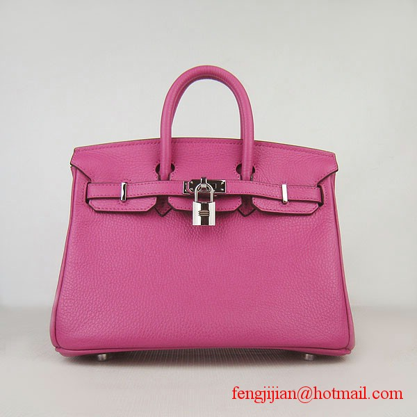 Hermes Birkin 25cm Embossed Leather Handbag 6068 Peachblow Silver Palladium hardware