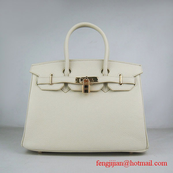 Hermes Birkin 30cm Togo Leather Bag Cream 6088