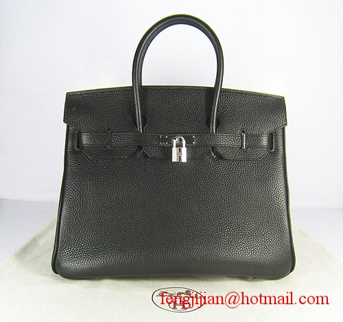 Hermes Birkin 35cm Embossed Veins Leather Bag Black 6089 Silver Hardware