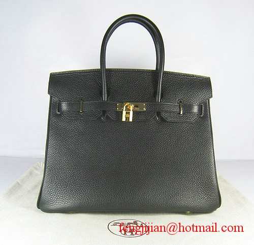 Hermes Birkin 35cm Embossed Veins Leather Bag Black 6089 Gold Hardware