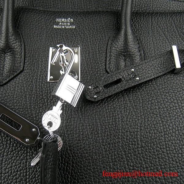 Hermes Birkin 35cm Tendon Veins Leather Bag Black Silver Hardware