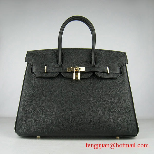 Hermes Birkin 35cm Tendon Veins Leather Bag Black Gold Hardware