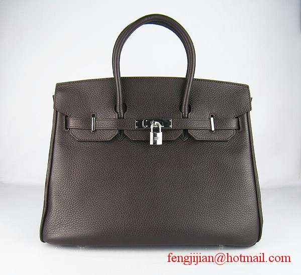 Hermes 35cm Embossed Veins Leather Bag Dark Coffee 6089 Silver Hardware